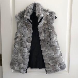 Women's Reversible Faux Fur/Nylon Vest